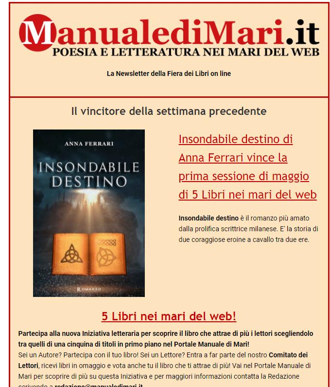"""Locandina di Manuale di Mari che assegna il primo premio a Insondabile destino per Cinque libri nel mare del web""""."""